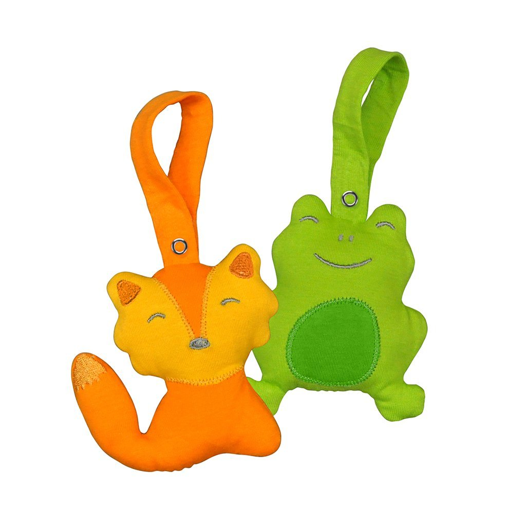 Two small stuffed animals that are a orange fox and green frog.
