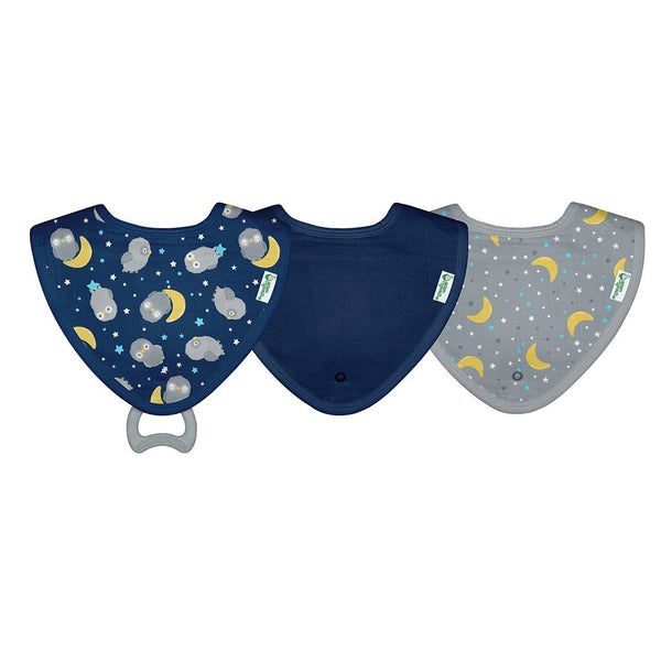 Muslin Stay-dry Teether Bibs made from Organic Cotton (3 pack)