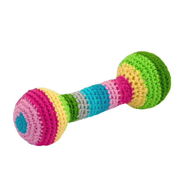 Rainbow Striped Chime Rattle made from Organic Cotton