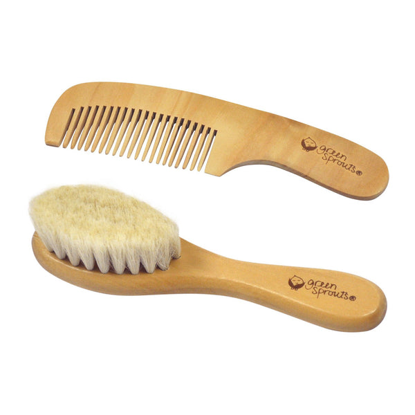 Wooden Baby Brush with goat hair bristles and a wooden Rounded tooth Comb.
