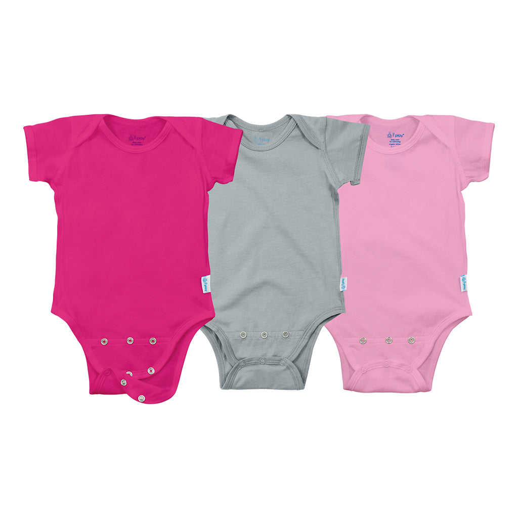 Short Sleeve Adjustable Bodysuit made from Organic Cotton (3 pack)
