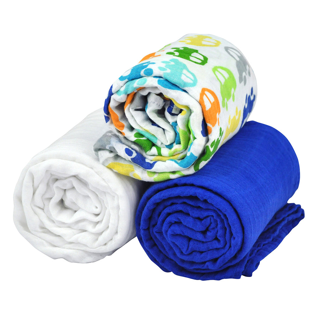 Brights Organic Muslin Blanket 3 Piece Royal Blue Gift Set