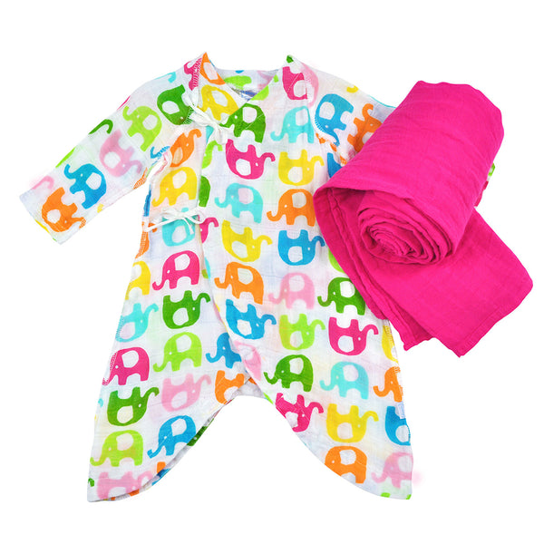 Brights Organic Gown and Blanket 2 Piece Hot Pink Gift Set