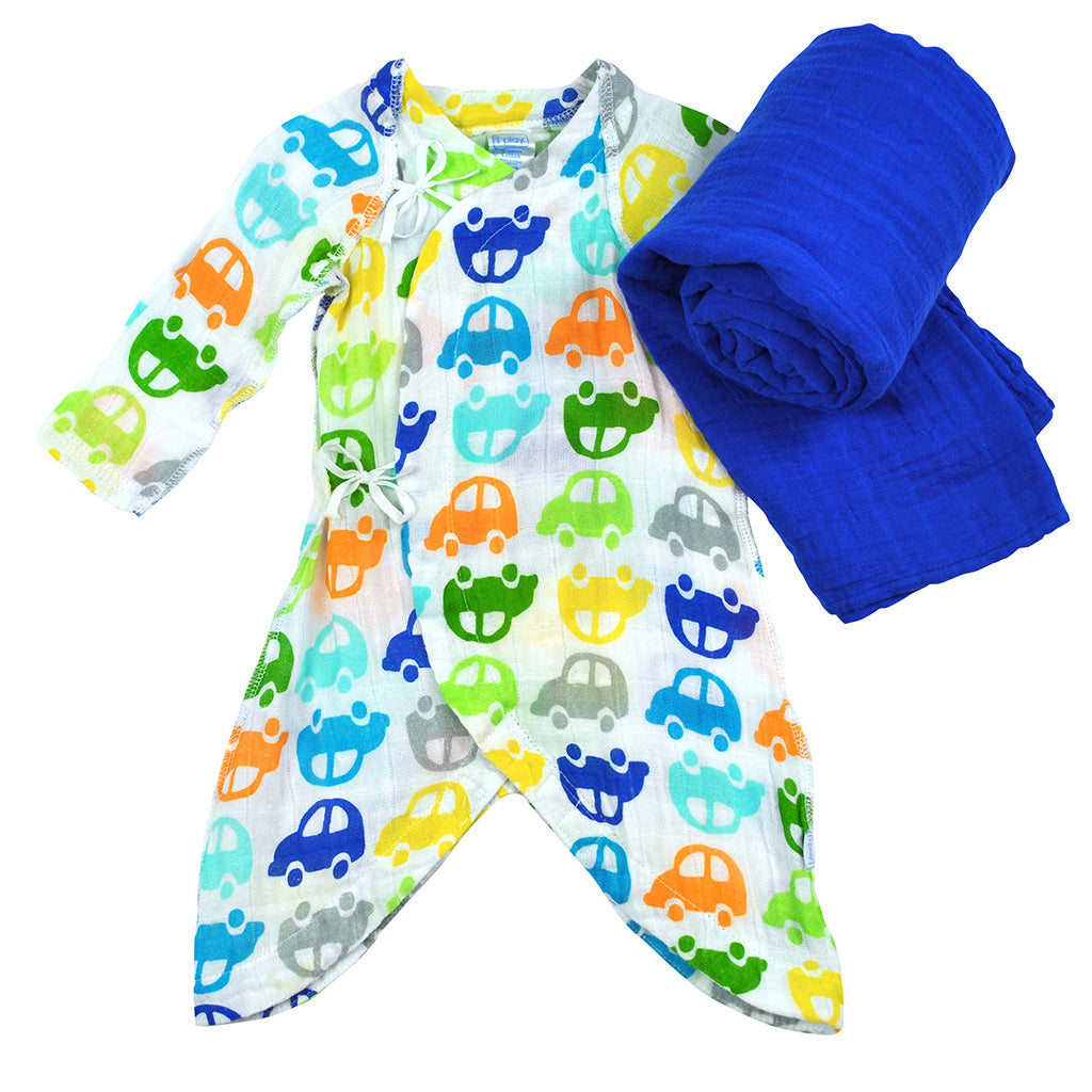 Brights Organic Gown and Blanket 2 Piece Royal Blue Gift Set