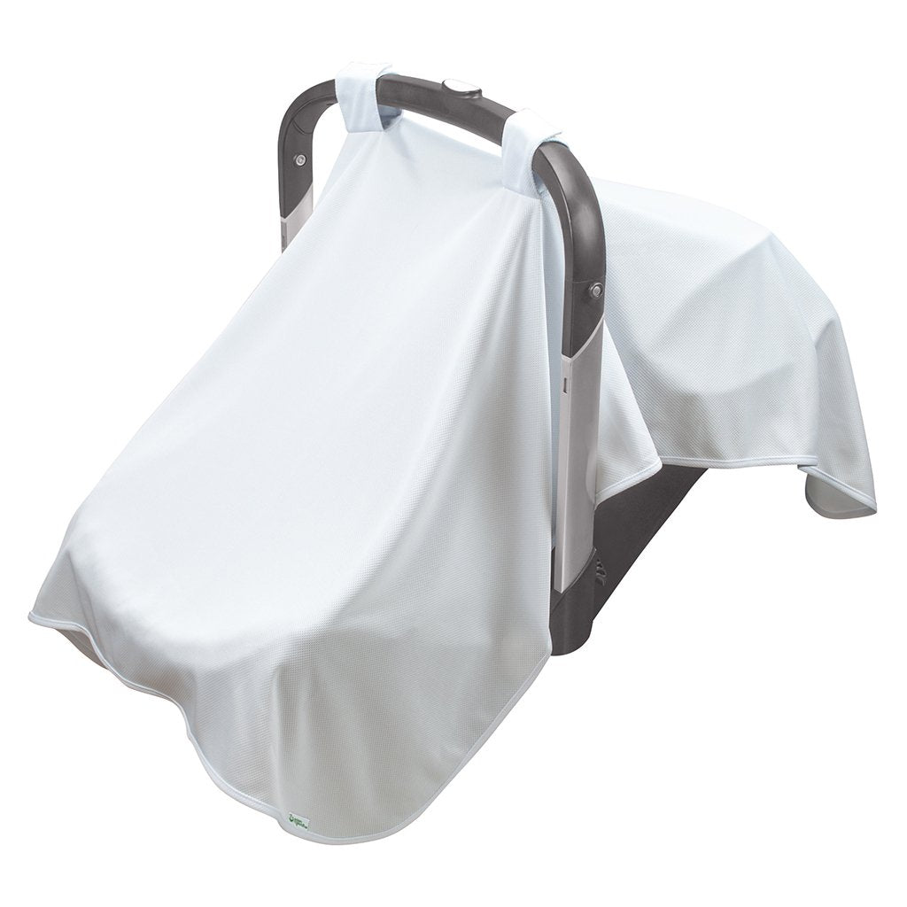 A white Breathable Sun Blanket hanging over a baby carrier.