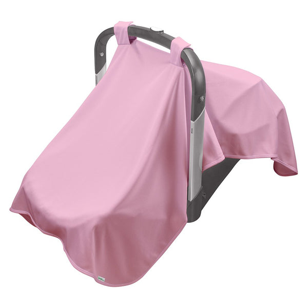 A light pink Breathable Sun Blanket hanging over a baby carrier.