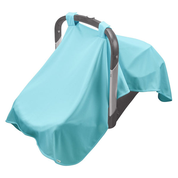 A light blue Breathable Sun Blanket hanging over a baby carrier.