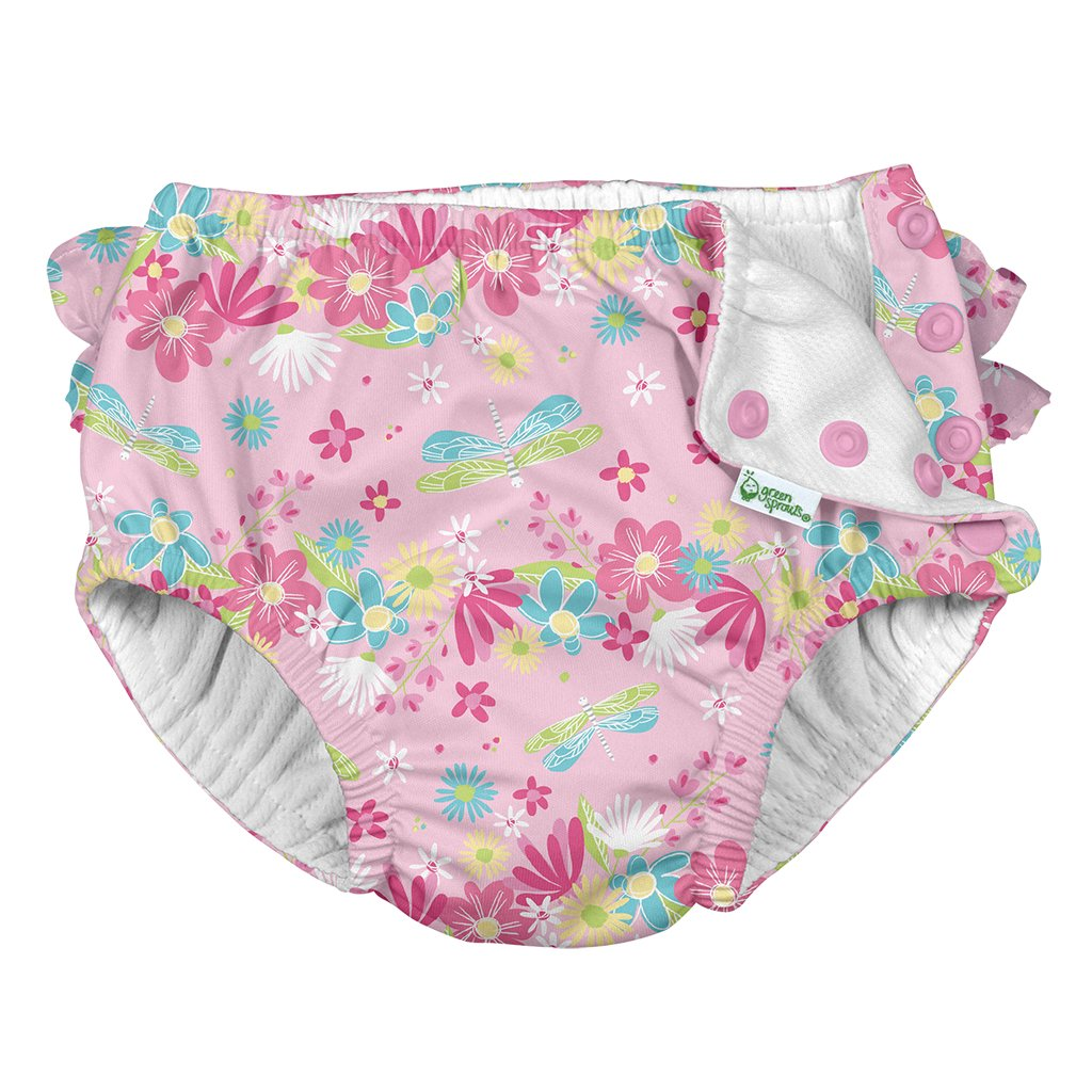 i play by green sprouts Girls Ruffle Snap Reusable Absorbent Swim Diaper
