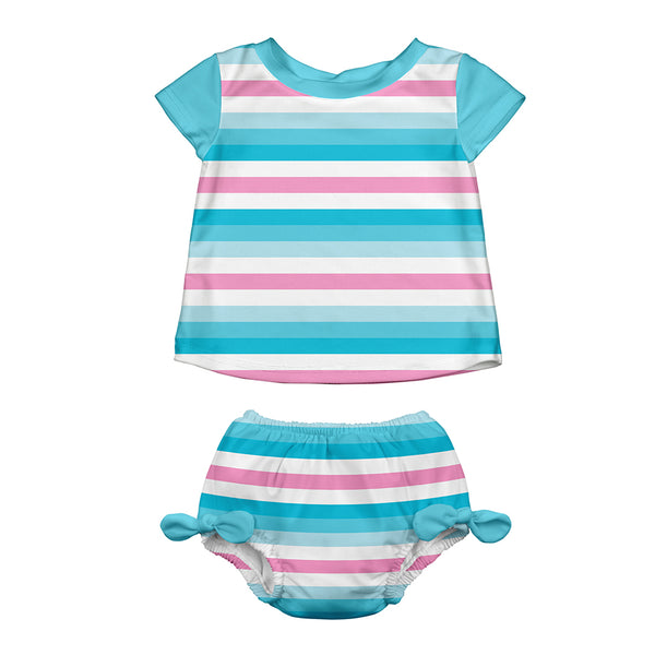 Aqua Stripe  Classic Two-piece Cap Sleeve Rashguard Set with Built-in Reusable Absorbent Swim Diaper