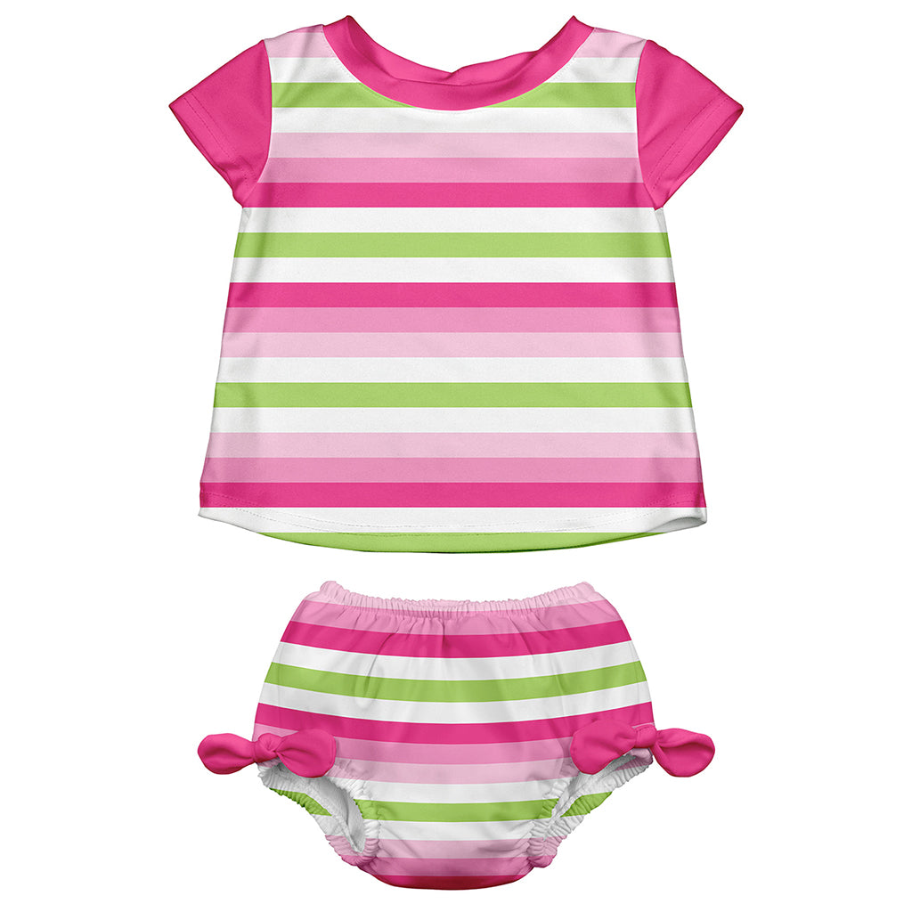 Pink Stripe Classic Two-piece Cap Sleeve Rashguard Set with Built-in Reusable Absorbent Swim Diaper