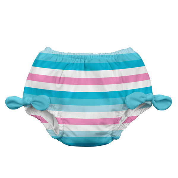 Aqua Stripe Classic Bow Swimsuit Bottom with Built-in Reusable Absorbent Swim Diaper