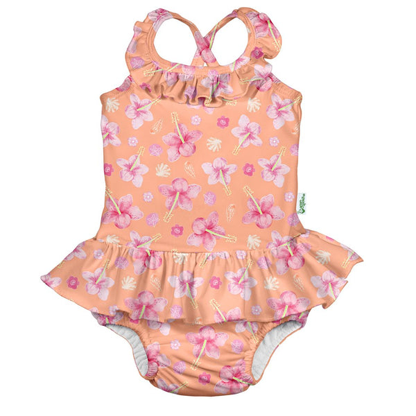 One-piece Ruffle Swimsuit with Built-in Reusable Absorbent Swim Diaper - Original