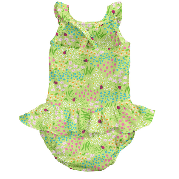 One-piece Ruffle Swimsuit with Built-in Reusable Absorbent Swim Diaper