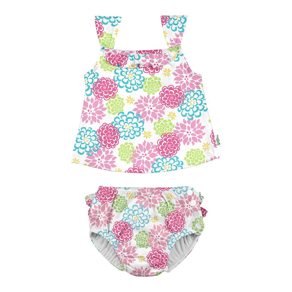 Two-piece Ruffle Tankini with Snap Reusable Absorbent Swim Diaper - original
