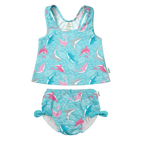 Two-piece Bow Tankini with Snap Reusable Absorbent Swim Diaper