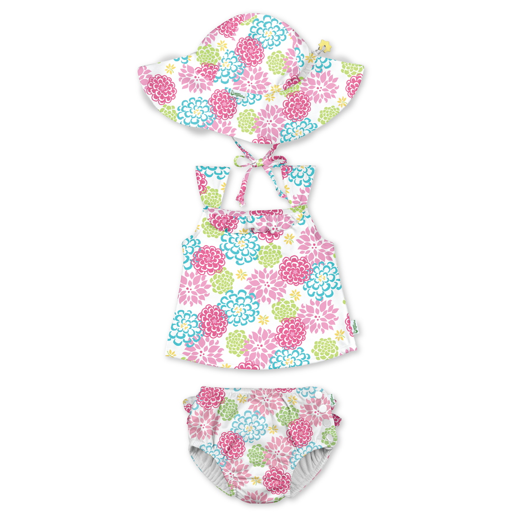 No other diaper necessary UPF 50+ protection by green sprouts Snap Reusable Swim Diaper i play