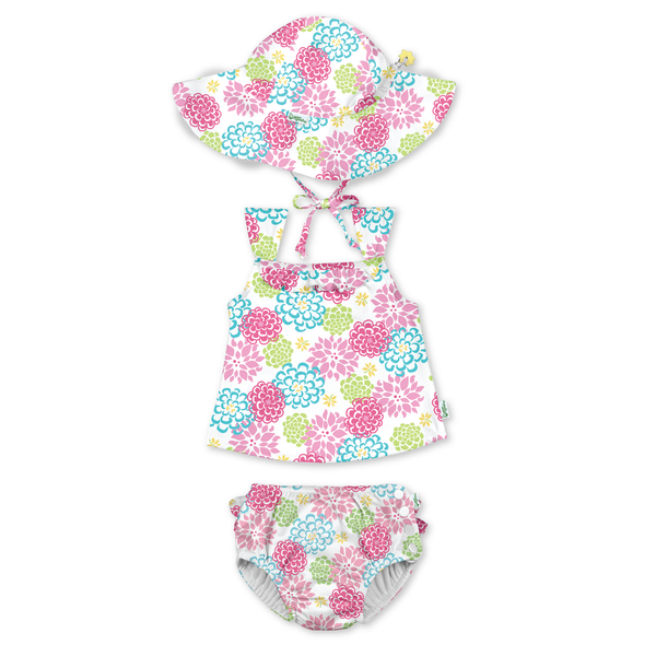 Brim Sun Protection Hat and Two-piece Ruffle Tankini Set with Snap Reusable Absorbent Swimsuit Diaper