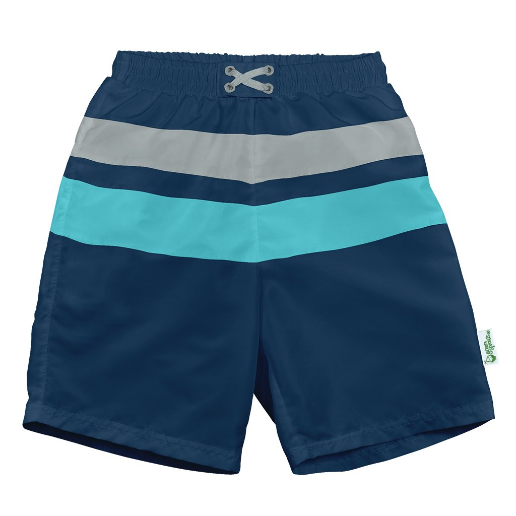 Navy Aqua Color Block Trunks with Built-in Reusable Absorbent Swim Diaper