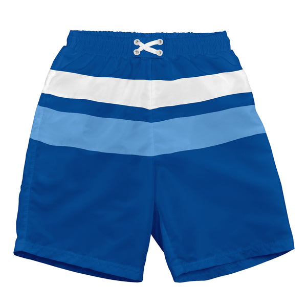 Royal and Light Blue Color Block Trunks with Built-in Reusable Absorbent Swim Diaper