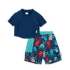 Short Sleeve Rashguard and Pocket Trunks Set with Built-in Reusable Absorbent Swim Diaper