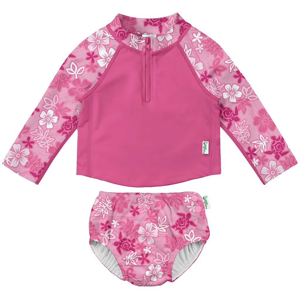 Navy Flamingos 24 Months by green sprouts Girls Baby Rashguard Set with Built-in Absorbent Swim Diaper i play