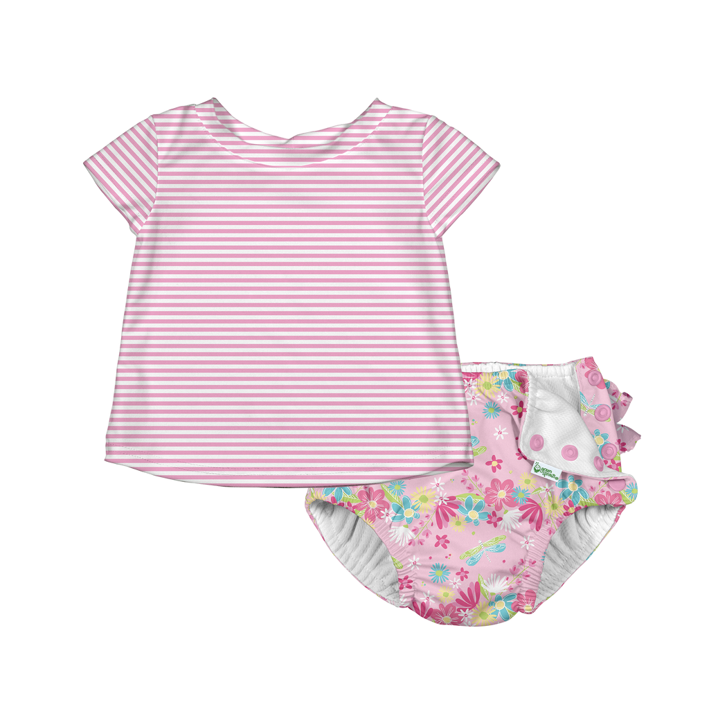 Two-piece Cap Sleeve Rashguard Set with Ruffle Snap Reusable Absorbent Swimsuit Diaper