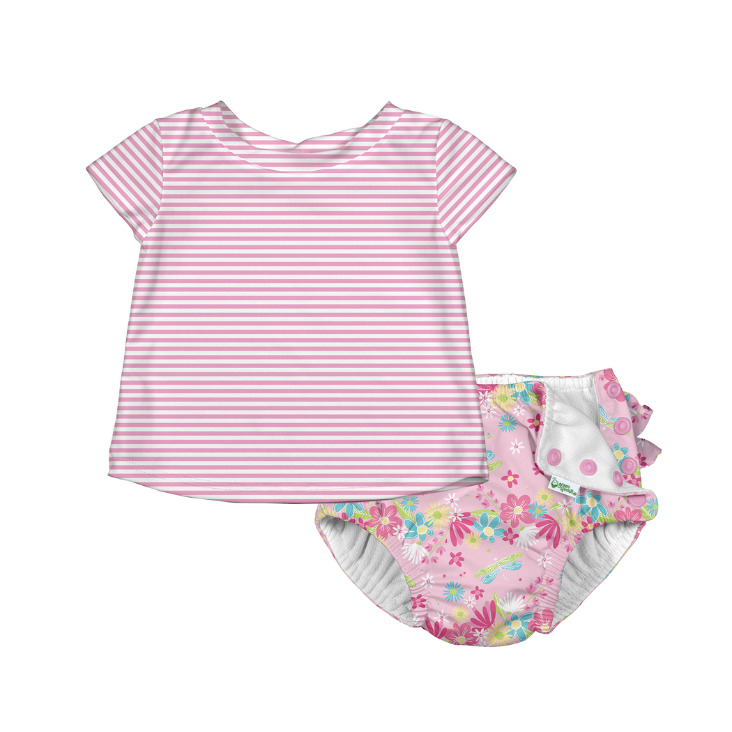 by green sprouts Girls Sun Protection Hat and Two-Piece Ruffle Tankini Set i play