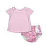 Two-piece Cap Sleeve Rashguard Set with Snap Reusable Absorbent Swimsuit Diaper
