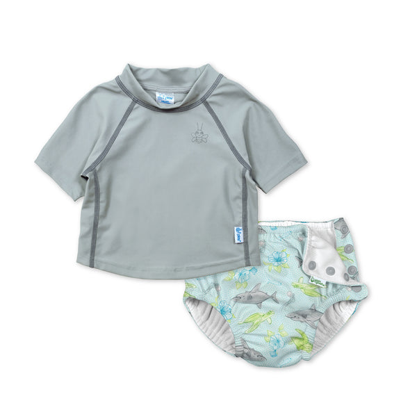 Short Sleeve Rashguard Set with Snap Reusable Absorbent Swimsuit Diaper