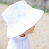 Looking at the back of a toddler's head with a white Bucket Sun Protection Hat on.