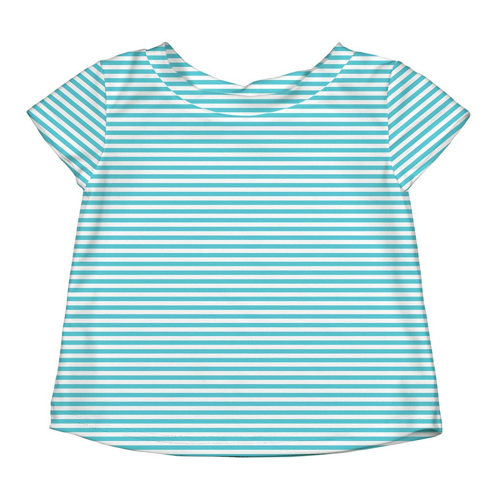 Light Aqua Pinstripe Cap Sleeve Rashguard Shirt