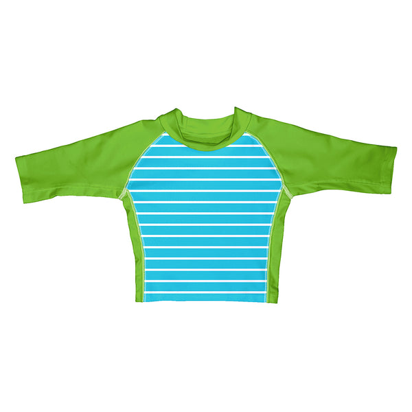 Aqua Stripe Classic Three-quarter Sleeve Rashguard Shirt