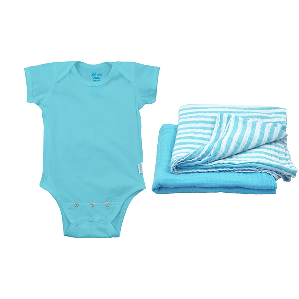 Short Sleeve Bodysuit + Swaddle Blankets Set Made From Organic Cotton