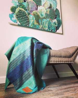 Green, Yellow and Purple Alpaca Blanket - Rain Forest