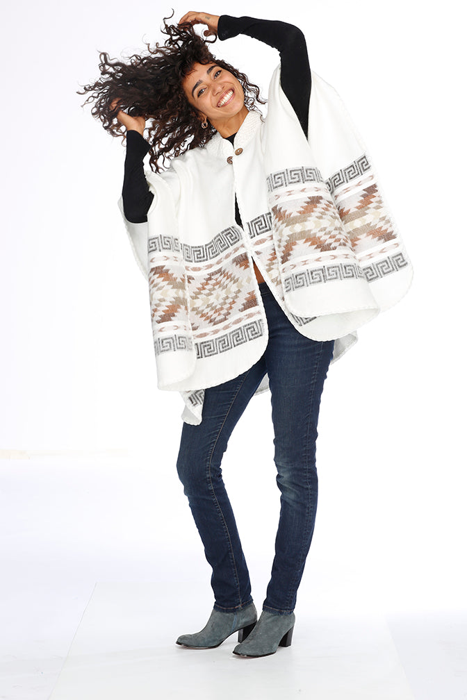 White, Black and Brown Alpaca Poncho - Inca Trails
