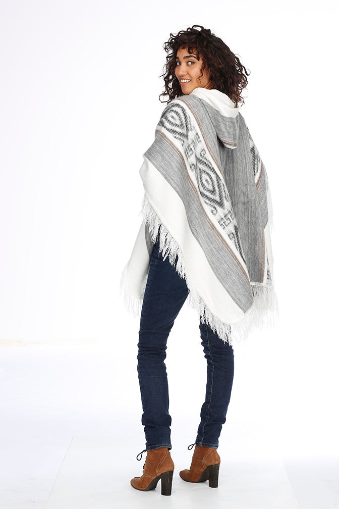 White and Gray Alpaca Poncho with Hood - Cloud Forest