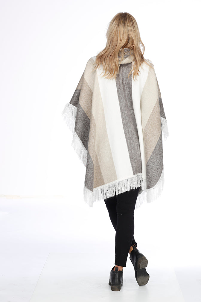 Beige, Gray and White Alpaca Poncho with Hood - Sugar Cane