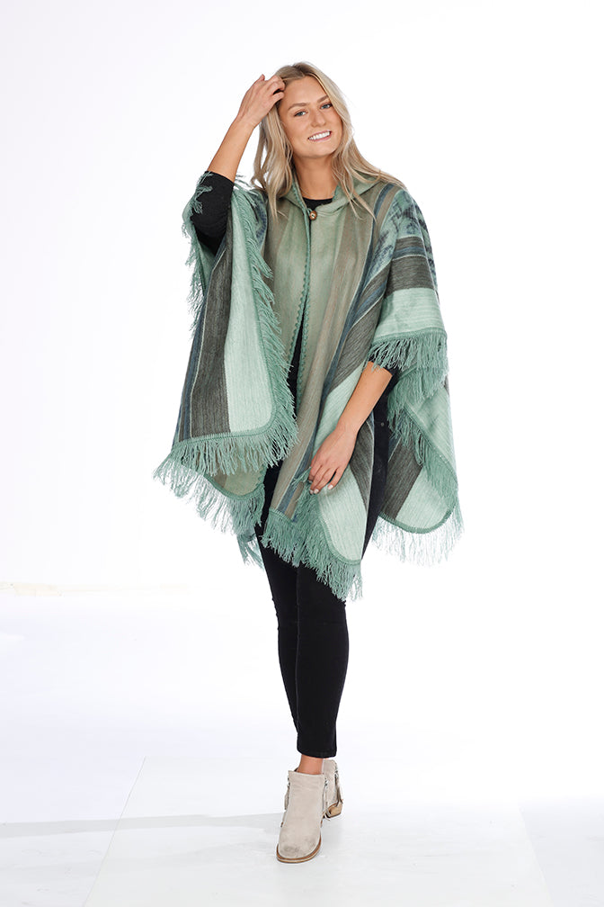 Green, Beige and Blue Alpaca Poncho with Hood - Grass Lands