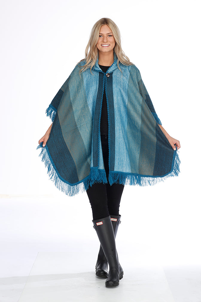 Teal Shades Alpaca Poncho with Hood - Wave Break