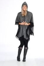 Gray and Black Alpaca Poncho with Hood - Moon Stone