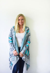 Gray and Teal Alpaca Knit Cardigan - Peaceful Gray