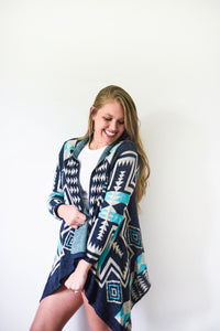 Navy Blue, Teal and White Alpaca Knit Cardigan - Lucky Blue