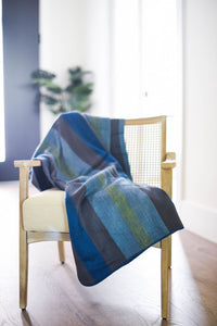 Blue, Yellow and Plum Alpaca Blanket - Ocean Tides