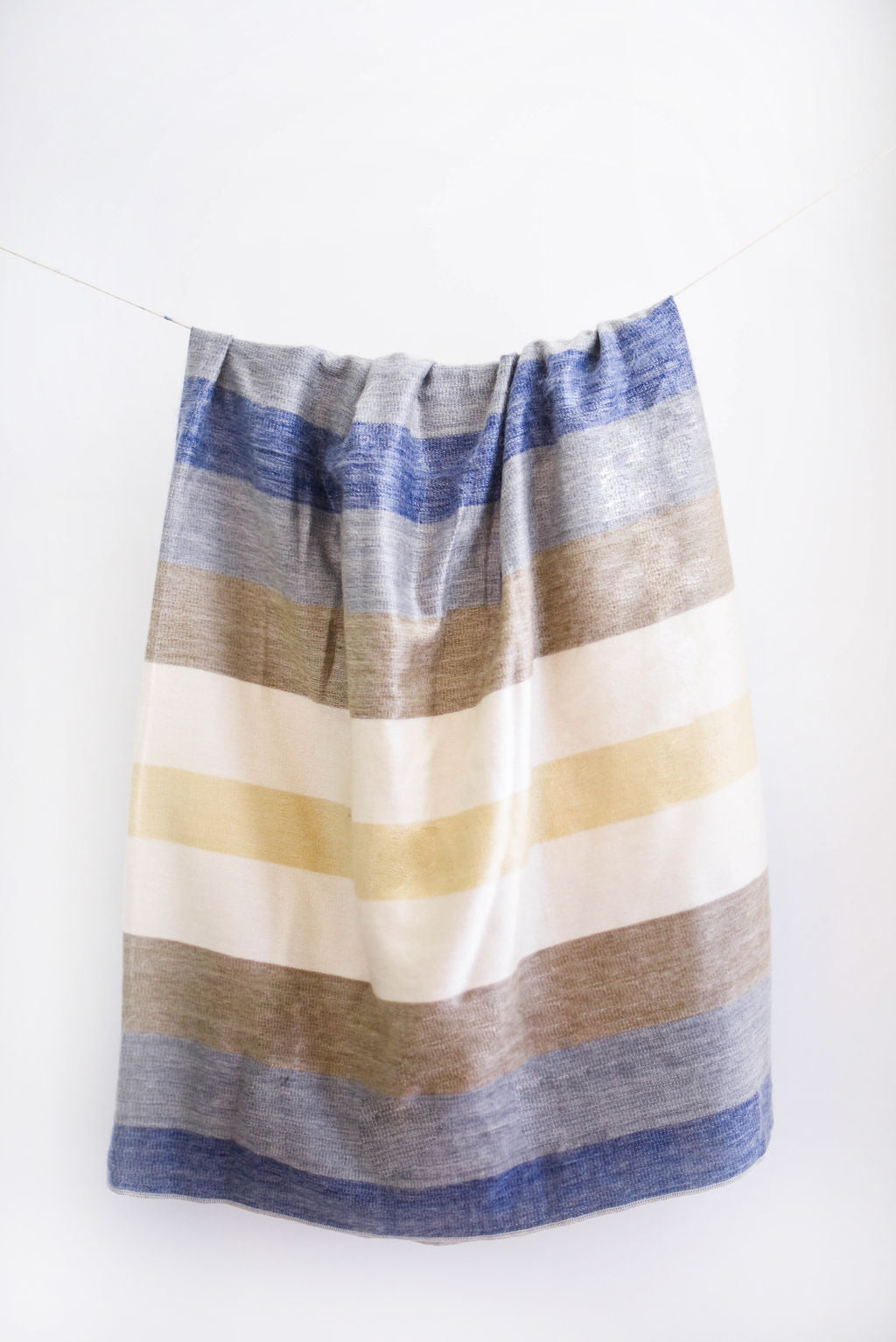 Blue, Brown and White Alpaca Blanket - Sand Castle