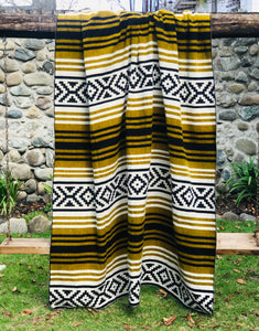 Yellow and Black Alpaca Blanket - Inca Design