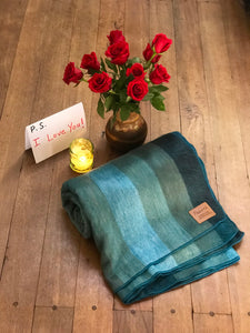 *Limited Edition* Teal and Beige Alpaca Blanket - Shore Line