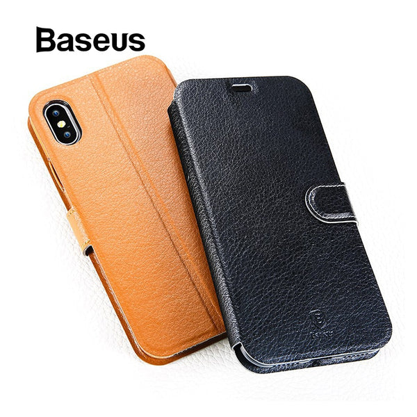 uk availability 25b88 be5be Baseus For iPhone X Case Luxury Flip PU Leather Wallet Case For iPhone X  Full Body Coverage Protective Leather Kickstand Coque