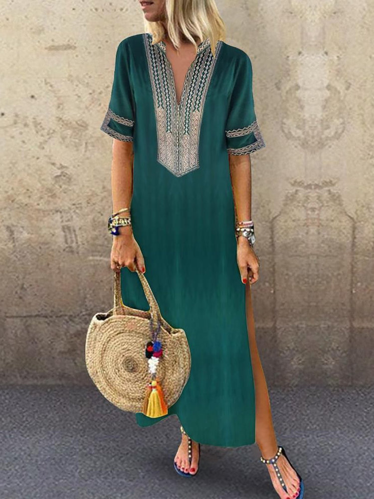V neck Green Shift Women Daily Statement Half Sleeve Slit Solid Summer Dress
