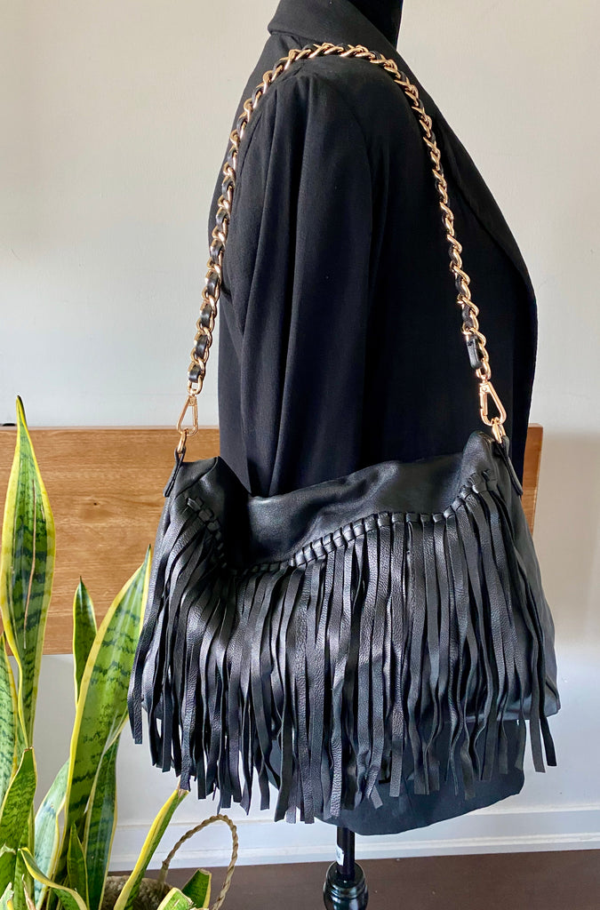 Charlie Black Fringed Faux Leather Shoulder Purse