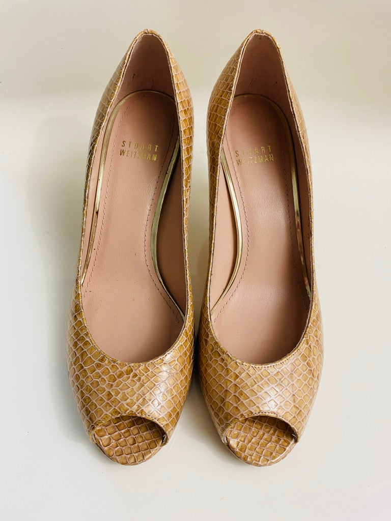 Stuart Weitzman Python Leather Peep Toe Pumps